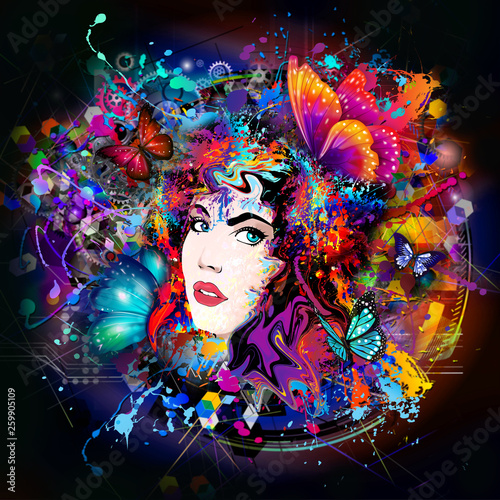 futuristic colorful background with beautiful female face and butterflies