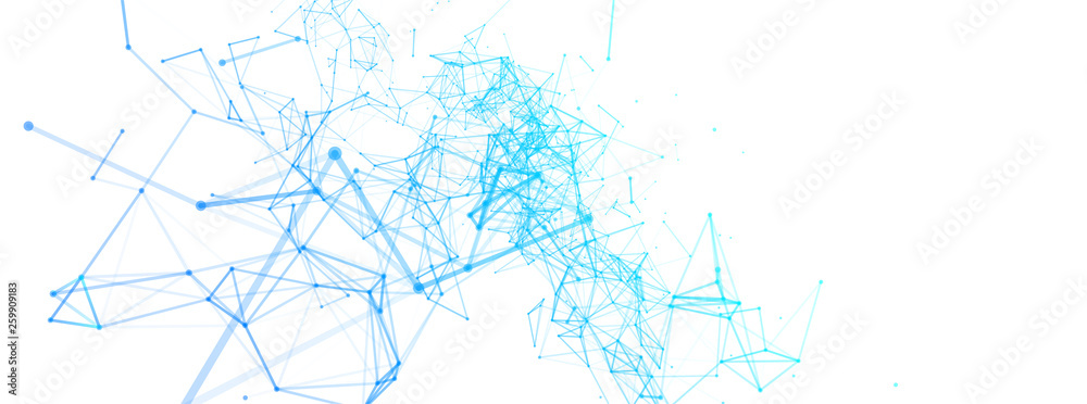 Fototapety, obrazy: Abstract polygonal vector background with connecting dots and lines. Digital data visualization.