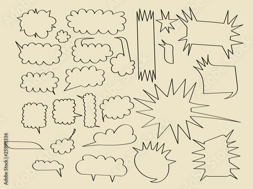 Hand drawn doodle speech bubbles set with accentuation Canvas Print