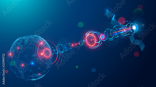 Fotografía  Telecommunications satellite broadcasting a abstract signal in space earth