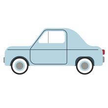 Small Blue Car Flat Illustration On White