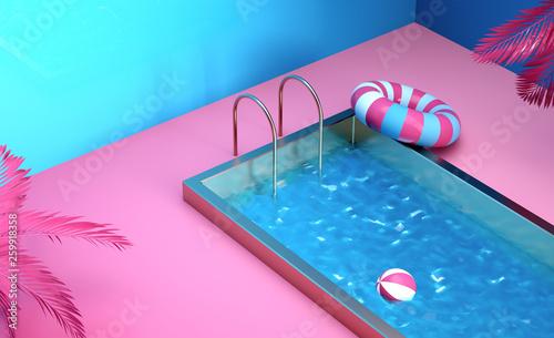 3d render still life composition illustration tropical ...
