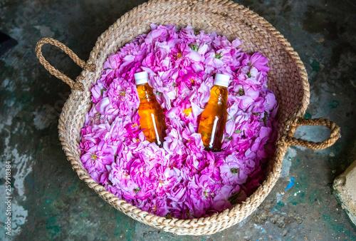 Photographie rose water bottles inside a basket of rose petals