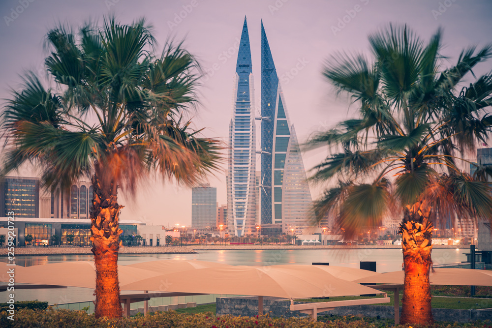 Modern architecture of Manama at night