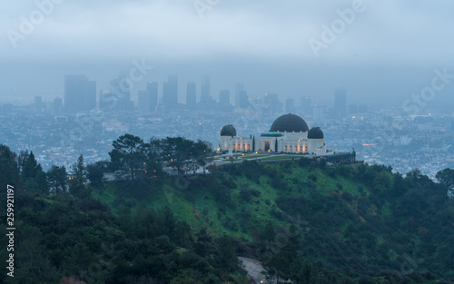 Aluminium Prints Los Angeles Morning Fog view of Los Angeles, California, USA downtown view from Griffith park