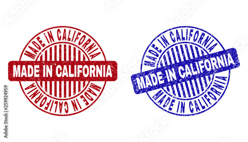 Fotografie, Obraz  Grunge MADE IN CALIFORNIA round stamp seals isolated on a white background