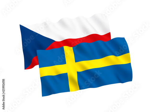Photo  National fabric flags of Czech Republic and Sweden isolated on white background