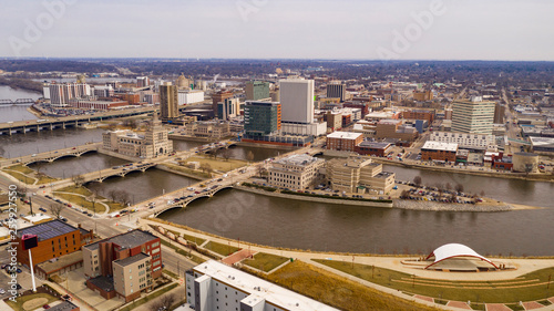Aerial Perspective of Cedar Rapids Iowa Urban Waterfront