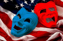 Politics Is Just A Theater, Partisan Politicians And Hyper Partisanship Concept Theme  With Comedy And Tragedy Masks On The American Flag