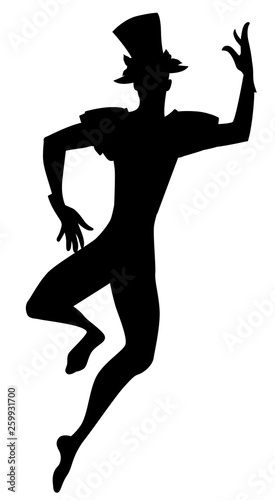 Silhouette of dancer Joker with top hat dancing isolated on white background Canvas Print