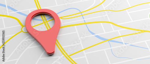 Location marker red color on map background, banner. 3d illustration