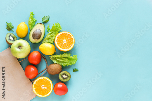 Deurstickers Eten Shopping healthy food