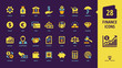 Vector business and finance yellow glyph icon on a dark violet background set with money, bank, piggy, credit, exchange, deposit, dollar, euro, coin, card, handshake and more isolated silhouette sign.