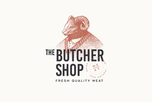 """Image Of A Man-ram In A Sweater In The Technique Of Engraving And The Inscription: """"Butcher Shop"""" On Light Background. Template For Logo, Emblem In Retro Style. Vector Illustration."""