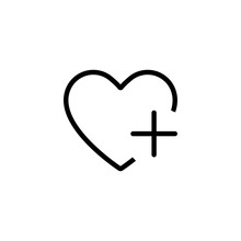 Heart Icon With Plus Isolated Social Networ Sign Like Favourite For Websites Application And Other.