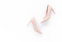 Pastel Pink Women High Heel Shoes On Pink Background. Flat Lay, Top View Trendy Fashion Feminine Background. Beauty Blog Concept. Fashion Blog Look.