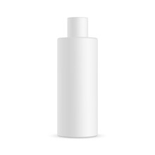 Tall Cosmetic Bottle Mockup Isolated On White Background. Vector Illustration