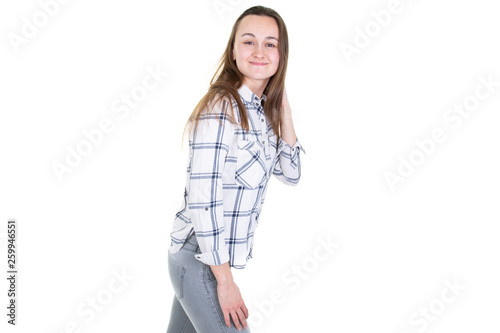 Photo  cheerful cute teen girl 18 years old isolated on a white background