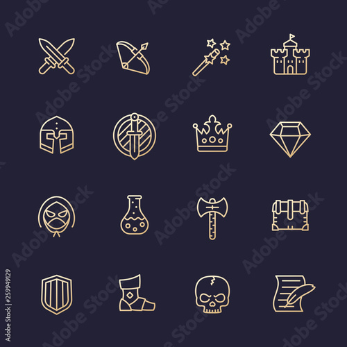 Game line icons set, RPG ui, fantasy, knight, magic wand, swords, bow, castle, h Canvas Print