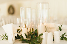 Photo Of Wedding Candles Decoration With Leaves And Glass