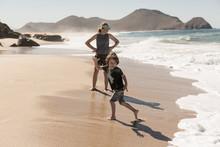 Children Playing Near Surf, Beach, Todos Santos, Mexico