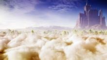 Fantasy Landscape With Majestic Castle Concept Art