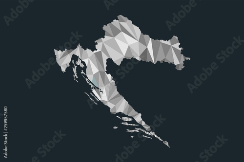 Fotografie, Obraz Low poly Croatia map vector of white color geometric shapes or triangles on blac