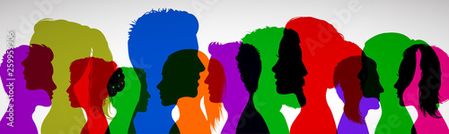 Obraz Group young people. Profile silhouette faces girls and boys – for stock - fototapety do salonu