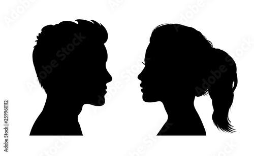 Obraz na płótnie Man and woman face silhouette. Face to face icon – stock vector