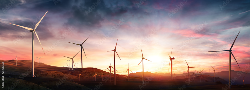 Fototapeta Wind Turbines In Rural Landscape At Sunset