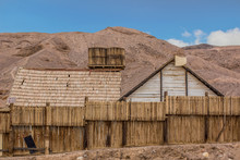American Wild West Wooden Buildings Decoration In Dry Desert Outdoor Scenic Landscape Environment, Historical Architecture, Cinema Object And Travel Sightseeing Site Concept Place Photography
