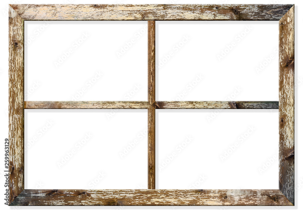 Fototapety, obrazy: Very aged wooden window frame with cracked paint on it, mounted on a grunge wall