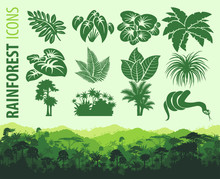 Set Of Jungle Icons With Horizontal Seamless Tropical Rainforest Forest Background