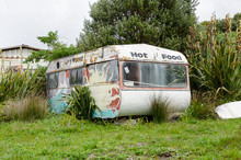 An Abandoned, Mobile, Food Caravan In The Chatham Islands, New Zealand.