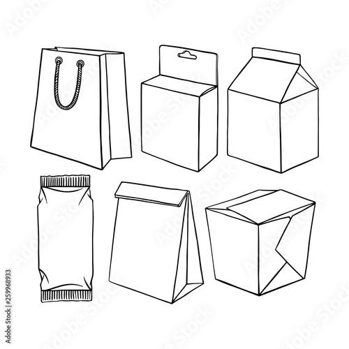 Obraz set of different packaging - fototapety do salonu