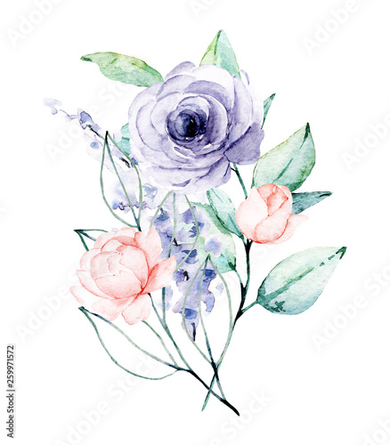 Wall Murals Bestsellers Watercolor flower bouquet. Floral clip art. Perfectly for print on wedding invitation, greeting card, wall art, stickers and other. Isolated on white background. Hand paint design.