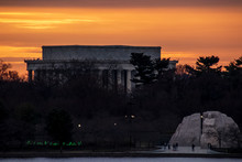 Sunset Behind The Lincoln And MLK Memorials