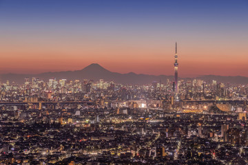 Tokio miasto w nocy widok z Mt.Fuji