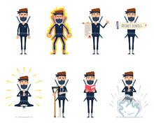 Set Of Ninja Characters Posing In Different Situations. Cheerful Ninja Standing, Holding Scroll, Meditating, Reading A Book, Injured, In Rage, Using Secret Technique. Flat Style Vector Illustration