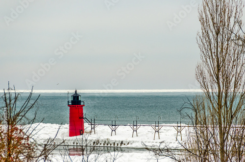 Photo  Red and Black Lighthouse at South Haven, Michigan