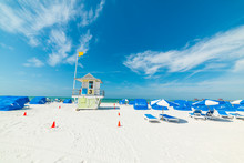 White Sand And Blue Sky In Clearwater Beach In Florida
