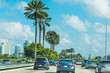 Traffic on the highway in Miami Beach