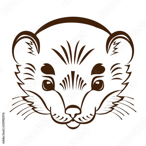 Canvas Print Logo ermine head. Stylized mascot.