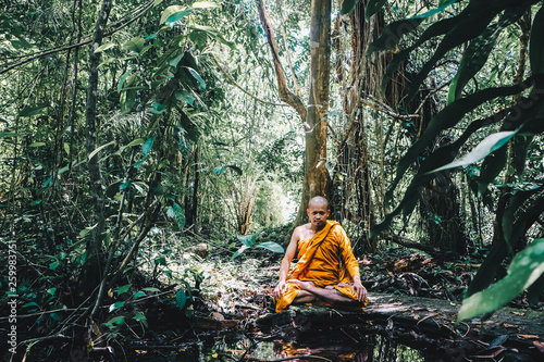 Photo Buddist monk made meditation in deep forest