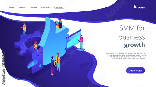 Fototapeta Social media marketing managers and specialist working and thumb up. Social media marketing, social customer care, SMM for business growth concept. Isometric 3D website app landing web page template obraz