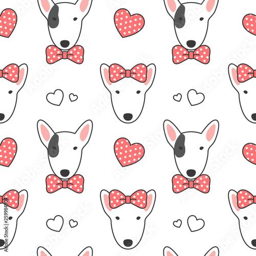 Billede på lærred Bull terrier Seamless Pattern Background