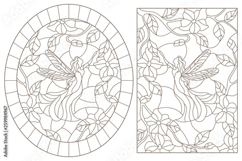 A Set Of Contour Illustrations Of Stained Glass Windows With Fairies