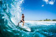 canvas print picture Surfer rides barreling tropical ocean wave