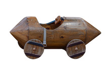 Wooden Toy Car Isolated On Whi...