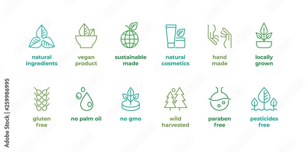 Fototapeta Eco line badge. Handmade eco logos, natural organic cosmetics vegan food symbols, Vector linear gluten free, no gmo emblems